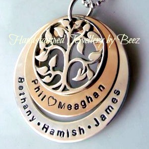 Two tone double washer silver family tree pendant hand stamped by beez two tone double washer silver family tree pendant aloadofball Gallery