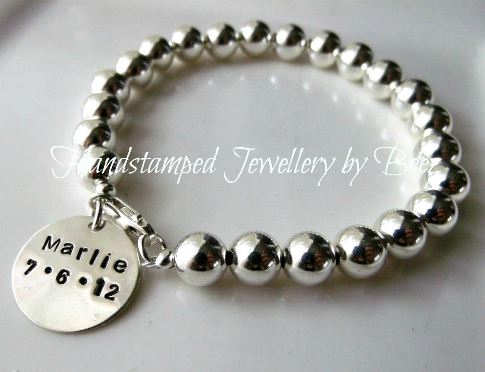 Sterling Silver Ball Bracelet With Stamped Disc